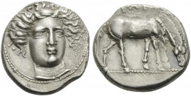 THESSALY. Larissa . Circa 400-380 BC. Drachm (Silver, 18 mm, 5.76 g, 8 h). Head of the nymph Larissa three-quarters facing and wearing ampyx, turned s...