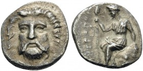 THESSALY. Metropolis . Circa 400-350 BC. Obol (Silver, 11 mm, 0.95 g, 6 h). Facing head of horned and bearded river god. Rev. MHTPOΠO Dionysos, bearde...