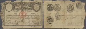 Portugal: 6400 Reis 1828 P. 38, strong used, much border wear but not taped, condition: VG.