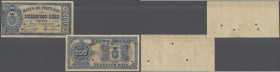 Portugal: 200 Reis 1891 Proof P. 63(p), consisting of 2 pieces, front and back seperatly printed, hole cancellations, no serial numbers, markings in a...