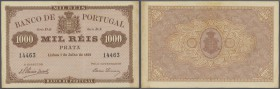 Portugal: 1000 Reis 1891 P. 66, one vertical fold, slight dints at upper right and lower left corner, light staining at right border, no holes or tear...