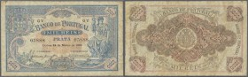 Portugal: 1000 Reis 1896 P. 73, folds, creases in paper, no holes or tears, original colors, condition: F.