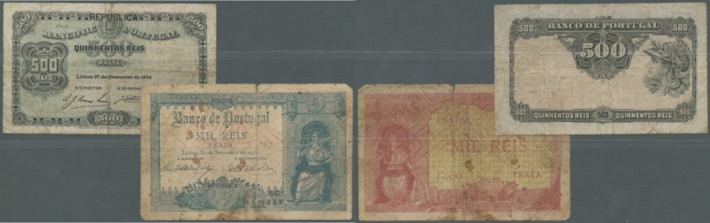 Portugal: set of 2 notes 500 Reis 1904 P. 105a (F to F-), 1000 Reis 1910 P. 106,...