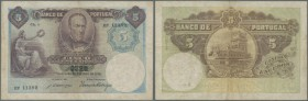 Portugal: 5 Escudos 1914 P. 114, center fold, creases in paper, two 4mm tears at left border, 2mm tear at upper border, no holes, not repaired, still ...