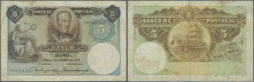 Portugal: 5 Escuods 1923 P. 114 in used condition with several folds and a stronger center fold, some staining in paper but still original coloring, a...
