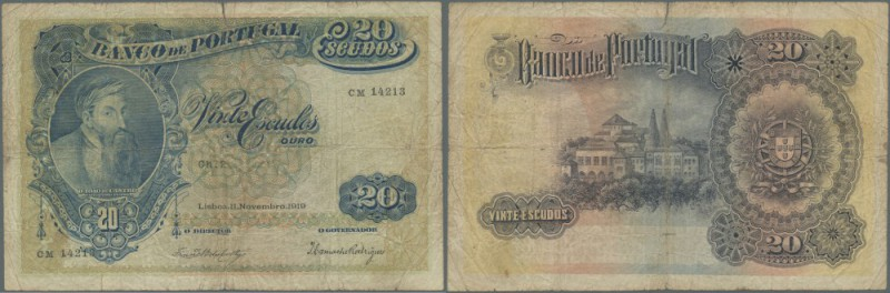 Portugal: 20 Escudos 1919 P. 118, stained paper, several folds, strong center fo...