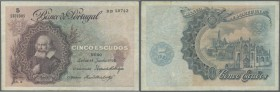 Portugal: 5 Escudos 1922, P.119, used condition with several folds and stains, tiny tears at right border. Rare! Condition: F