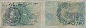 Portugal: 5 Escudos 1920 P. 120, pressed, repair at upper and left border, a bit discoloration on front, no holes or tears, condition: F-.