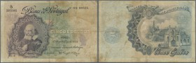 Portugal: 5 Escudos 1922 P. 120 in used codition with stained paper and several folds but no holes or tears, still a nice collectable item. Condition:...