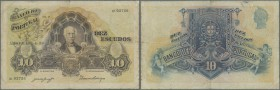 Portugal: 10 Escudos 1920 P. 121, several folds, light stain in paper due to usage, one 3mm border tear at top border, one 7mm tear at right border, n...