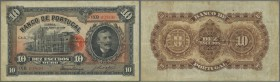 Portugal: 10 Escuods 1925 P. 125, three vertical and one horiontal fold, light staining at left border, no holes or tears, strong original paper and d...