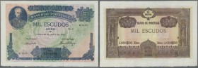 Portugal: 1000 Escudos 1920 P. 125, highly rare banknote with only a light center fold, no holes, no tears, crisp original and bright colors. Conditio...