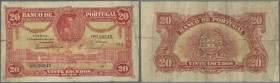 Portugal: 20 Escudos 1925 P. 135, strong horizontal fold, center hole, strong vertical fold, not repaired, still nice colors, condition: F to F-.