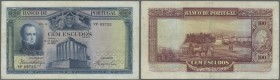 Portugal: 100 Escudos 1930 P. 140, 3 vertical and one horizontal old, pressed, very tiny professional repair at upper border, colors of the note are u...