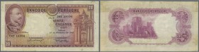 Portugal: 20 Escudos 1940 P. 143, pinholes at left border, staining at left side on back, paper thinning at upper border center, in spite of that very...
