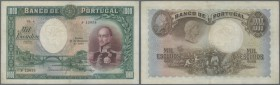 Portugal: 1000 Escudos 1929 P. 145, highly rare, issued note type, center fold with 2 very small and hard to see professional repairs at the upper and...