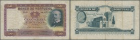 Portugal: 50 Escudos 1938 P. 149, normal traces of use, stronger center fold, light staining in paper, no holes or tears, nice colors, condition: F.