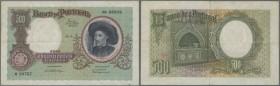 Portugal: 500 Escudos 1938 P. 151, light center and horizontal fold, paper thinning at upper right, light staining at left border, crisp paper and bri...