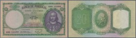Portugal: 20 Escudos 1949 P. 153a, only a center fold, no holes or tears, crisp original paper and bright colors, condition: VF+ to XF-.