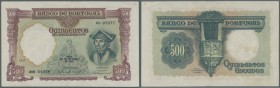 Portugal: 500 Escudos 1942 P. 155. This note is in slightly used condition with a slight center fold and a slight corner fold at upper right corner. T...