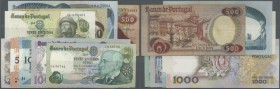 Portugal: set of 9 different banknotes containing 20 Escudos 1971 P. 173 (aUNC), 50 Escudos 1980 P. 174b (XF+), 1000 Escudos 1968 P. 175a (aUNC), 20 E...