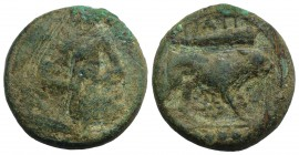 Northern Apulia, Teate, c. 225-200 BC. Æ Quadrunx (24mm, 12.45g, 11h). Head of Herakles r., wearing lion skin. R/ Lion r.; club above, star below, fou...