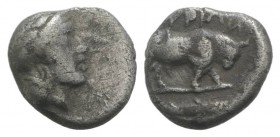 Southern Lucania, Thourioi, c. 443-400 BC. AR Triobol (9mm, 0.99g, 12h). Helmeted head of Athena r., helmet decorated with wreath. R/ Bull standing r....