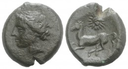 Sicily, Panormos as Ziz, c. 380-340 BC. Æ (21mm, 8.33g, 6h). Wreathed head of Persephone l. R/ Horse advancing l.; facing head of Helios above. CNS I,...