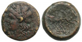 Sicily, Syracuse, 214-212 BC. Æ (22mm, 11.64g, 3h). Laureate head of Apollo l. R/ The Dioskouroi on horseback r. CNS II, 205; SNG ANS 1053; HGC 2, 145...