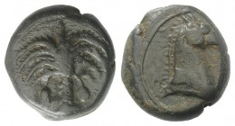 Sicily, Carthaginian Domain, c. 4th-3rd century BC. Æ (15mm, 5.46g, 9h). Palm tree with two dates. R/ Horse's head r. Lindgren 626; HGC 2, 1669. Near ...