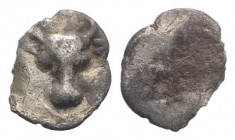 Thraco-Macedon, Pangeion region, c. 510-485 BC. AR Hemiobol (8mm, 0.26g). Bull's head facing. R/ Quadripartite incuse square. SNG ANS 1006; Svoronos p...