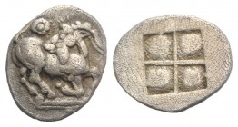 Thraco-Macedonian Tribes, Mygdones or Krestones, c. 485-470 BC. AR Diobol (12mm, 0.96g). Goat kneeling r., head l.; above, pellet in circle. R/ Quadri...