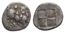 Thraco-Macedonian Tribes, Mygdones or Krestones, c. 485-470 BC. AR Diobol (10mm, 1.03g). Goat kneeling r., head reverted. R/ Quadripartite incuse squa...