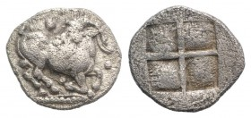 Thraco-Macedonian Tribes, Mygdones or Krestones, c. 485-470 BC. AR Diobol (10mm, 0.92g). Goat kneeling r., head l.; pellets around. R/ Quadripartite i...