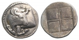 Macedon, Akanthos, c. 470-390 BC. AR Tetrobol (14mm, 2.14g). Forepart of bull l., head r.; akanthos flower above. R/ Quadripartite incuse square with ...