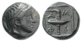 Macedon, Amphipolis, c. 410-357 BC. Æ (13mm, 3.68g, 10h). Diademed male head r. R/ Race torch. SNG ANS 85-6; SNG Copenhagen 43-4. VF - Good VF Ex CNG ...