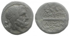 Macedon, Amphipolis, c. 187-31 BC. Æ (20mm, 6.47g, 9h). Helmeted head of Roma r. R/ Club r.; two monograms above, monogram below; all within wreath. C...