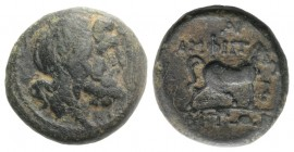 Macedon, Amphipolis, c. 187-31 BC. Æ (17mm, 4.86g, 11h). Head of Poseidon r. R/ Horse trotting r. SNG ANS 129. Green patina, about VF
