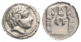 Macedon, Chalkidian League, Olynthos, c. 415-410 BC. AR Tetrobol (13mm, 2.21g, 9h). Laureate head of Apollo r. R/ Kithara within incuse square. Robins...
