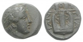 Macedon, Chalkidean League, Olynthos, c. 360-348 BC. Æ (14mm, 4.78g, 7h). Laureate head of Apollo r. R/ Kithara. SNG ANS 552-3. Dark green patina, VF