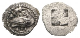 Macedon, Eion, c. 5th century BC. AR Diobol (11mm, 0.79g). Goose standing r., head l.; lizard above. R/ Quadripartite incuse square. SNG ANS 287-290; ...