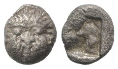 Macedon, Neapolis, c. 500-480 BC. AR Obol (8mm, 0.88g). Facing gorgoneion. R/ Quadripartite incuse square. SNG ANS 424. Good Fine