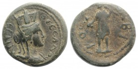 Macedon, Thessalonica. Pseudo-autonomous issue, time of Commodus (177-192). Æ (20mm, 6.02g, 12h). Turreted and draped bust of Tyche r. R/ Kabeiros sta...