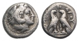 Kings of Macedon, Alexander III 'the Great' (336-323 BC). AR Diobol (9mm, 1.26g, 3h). Amphipolis, c. 332-326 BC. Head of Herakles r., wearing lion ski...