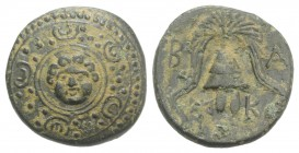 Kings of Macedon, Alexander III 'the Great' (336-323 BC). Æ Half Unit (17mm, 3.36g, 9h). Miletos or Mylasa, c. 320 BC. Macedonian shield with Gorgonei...