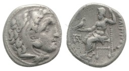Kings of Macedon, Philip III Arrhidaios (323-317 BC). AR Drachm (16mm, 3.94g, 11h). Kolophon, c. 322-319 BC. Head of Herakles r., wearing lion skin. R...