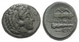 Kings of Macedon, Philip III Arrhidaios (323-317 BC). Æ Unit (18mm, 7.46 g, 3h). In the name of Alexander III, Tarsos. Head of Herakles r., wearing li...
