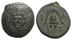 Kings of Macedon, Philip III Arrhidaios (323-317 BC). Æ Half Unit (16mm, 4.25g, 1h). Salamis, under Nikokreon. Macedonian shield, facing gorgoneion on...
