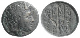 Kings of Macedon, time of Philip V and Perseus, 187-168 BC. Æ (20mm, 9.02g, 12h). Wreathed head of the river god Strymon to r. R/ Ornamented trident h...