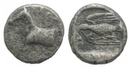 Kings of Thrace, Sparadokos (c. 464-444 BC). AR Diobol (9mm, 1.27g, 12h). Forepart of horse l. R/ Eagle flying l., holding serpent in beak. Topolav 63...